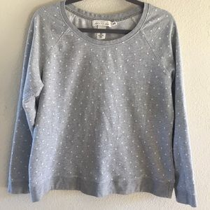 Gray and White polka dot crew neck sweatshirt.